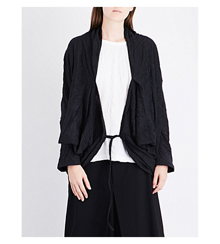 YS Wrinkled relaxed-fit cotton-blend cape (Black