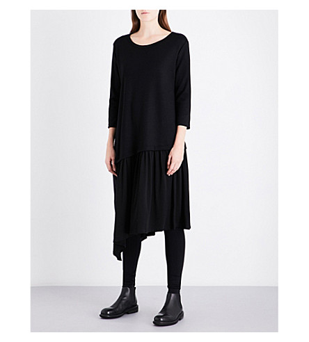 YS Asymmetric-hem relaxed-fit wool-blend dress (Black