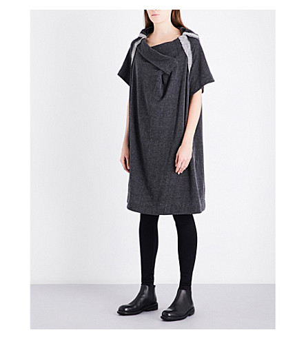 YS Draped relaxed-fit cotton and linen-blend dress (Black