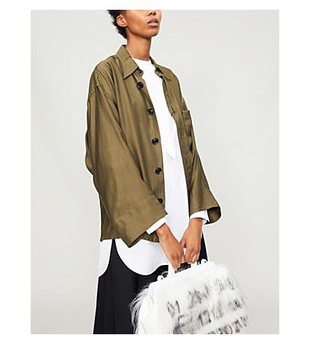 YS Oversized satin shirt (Khaki