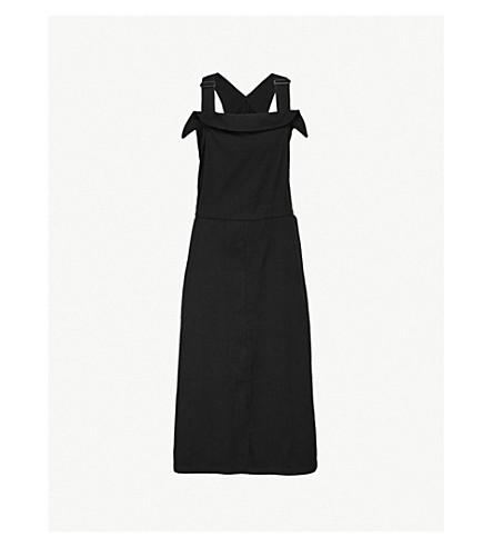 YS Pinafore-style wool-blend midi dress (Black