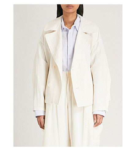 YS Oversized cotton and linen-blend jacket (White