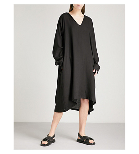 YS Hooded woven dress (Black