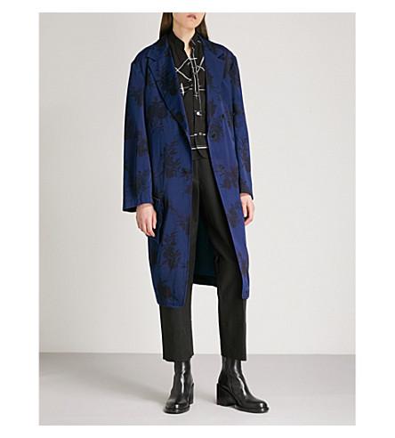 YS Floral-pattern satin coat (Blue