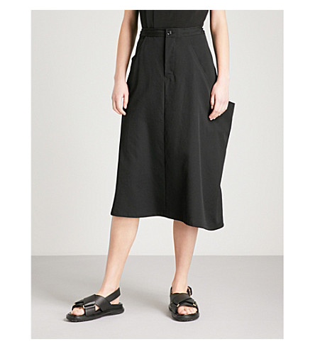 YS Draped-panel high-rise wool skirt (Black