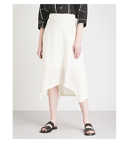 YS Asymmetric-hem linen-blend skirt (White