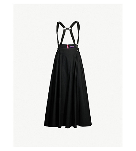 YS Suspender-detail cotton skirt (Black