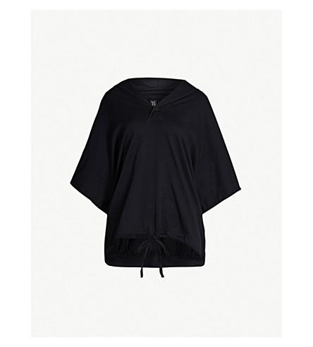 YS Drawstring hem oversized cotton hoody (Black