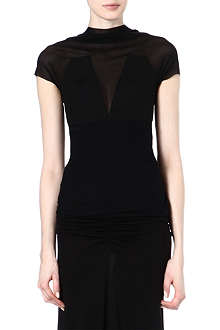 RICK OWENS Mesh-panelled top