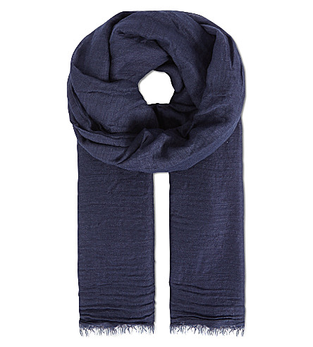 RICK OWENS Plain cotton-cashmere scarf (Navy