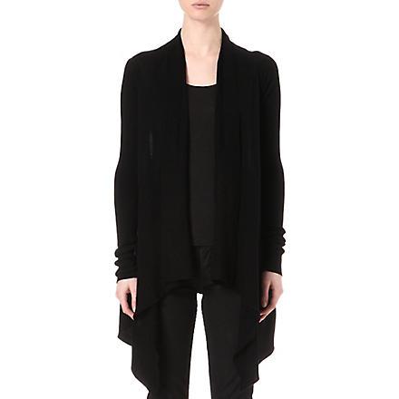 RICK OWENS Draped cashmere cardigan (Black