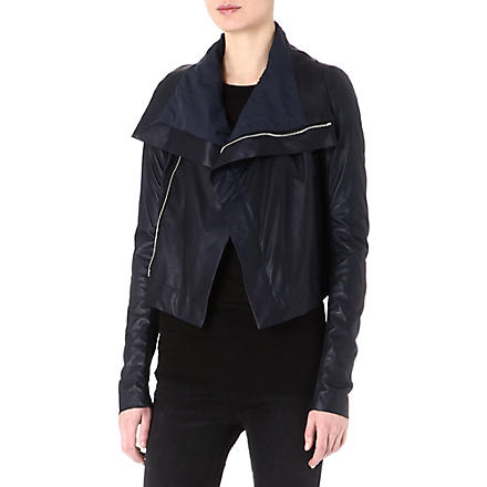 RICK OWENS Classic leather biker jacket (Navy