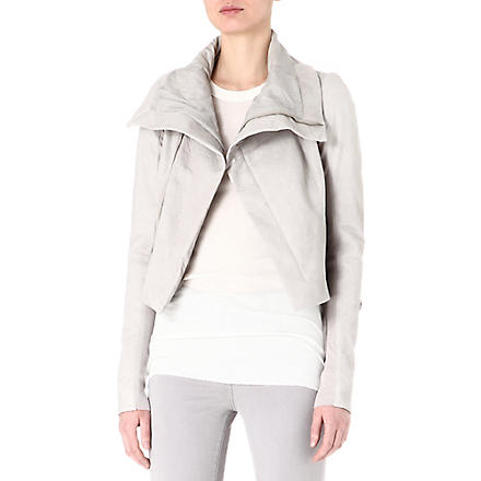 RICK OWENS Tail-back leather biker jacket (Pearl