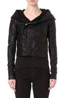 RICK OWENS Hooded biker jacket
