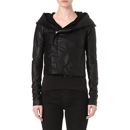 RICK OWENS Hooded biker jacket (Black