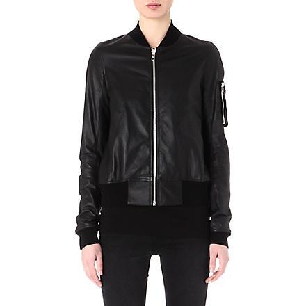 RICK OWENS Leather bomber jacket (Black