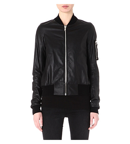 RICK OWENS Leather bomber jacket (Black