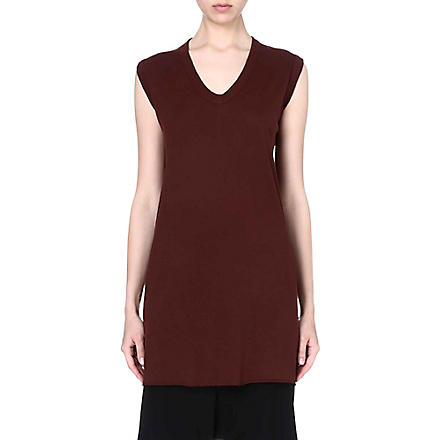 RICK OWENS Sleeveless jersey top (Blood