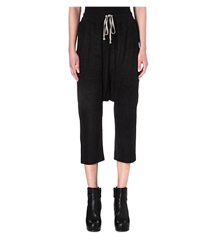 RICK OWENS Dropped-crotch leather trousers (Black