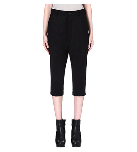RICK OWENS Cropped boyfriend trousers (Black