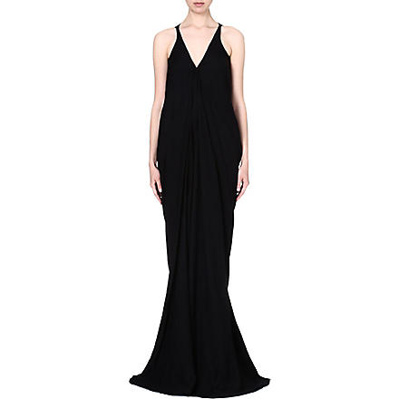 RICK OWENS V-neck draped gown (Black