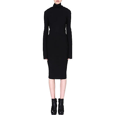 RICK OWENS Crepe midi dress (Black