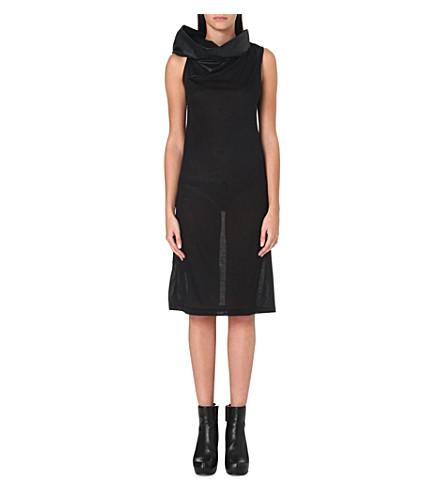 RICK OWENS Leather cowl neck dress (Black