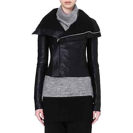 RICK OWENS Classic leather biker jacket (Black