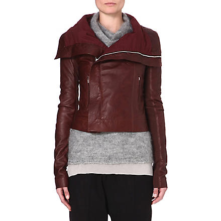 RICK OWENS Long-sleeved leather jacket (Blood