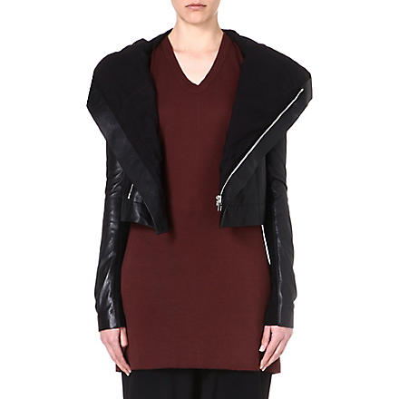 RICK OWENS Hooded leather jacket (Black