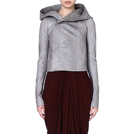RICK OWENS Hooded leather jacket (Tear