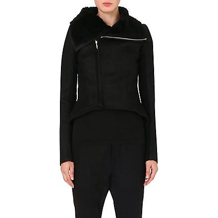 RICK OWENS Suede shearling jacket (Black