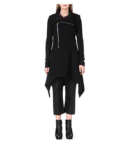 RICK OWENS Dropped-hem wool-blend coat (Black