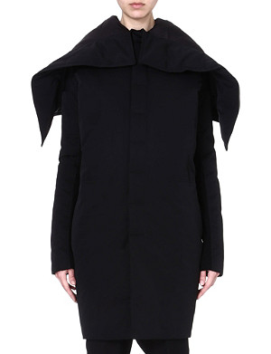 RICK OWENS Hooded quilted coat