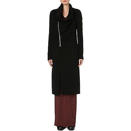 RICK OWENS Zip-front cashmere coat (Black