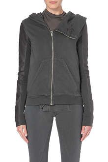 DRKSHDW Asymmetric leather-sleeved hoody