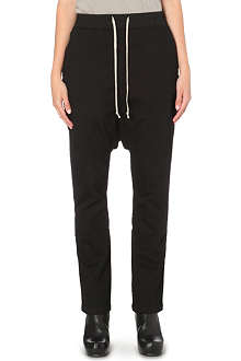 DRKSHDW Dropped crotch stretch-cotton trousers
