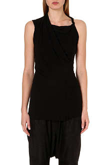 RICK OWENS Draped sleeveless jersey top