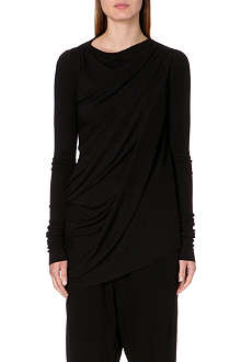 RICK OWENS Long-sleeved jersey drape top