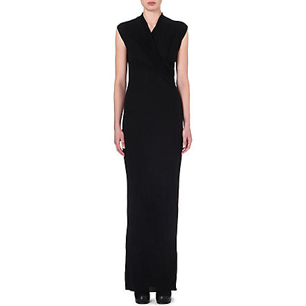 RICK OWENS Draped sleeveless gown (Black