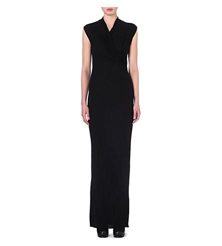 RICK OWENS Draped sleeveless gown (Black
