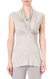 RICK OWENS Twisted-front sleeveless jersey top