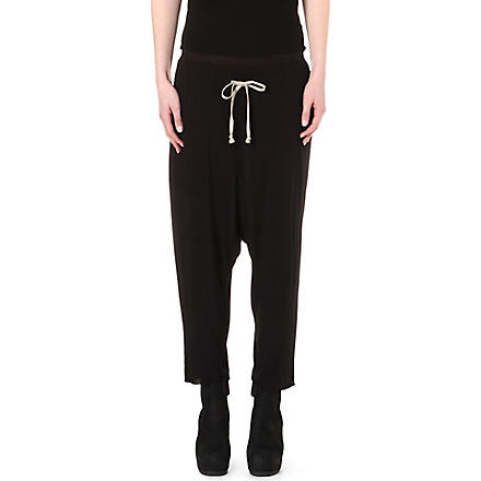 RICK OWENS Drop-crotch jogging bottoms (Black