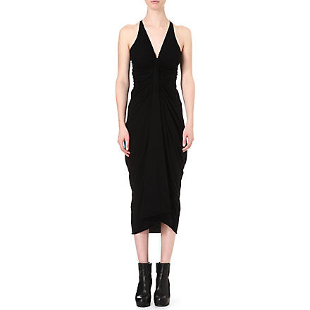 RICK OWENS Draped jersey dress (Black