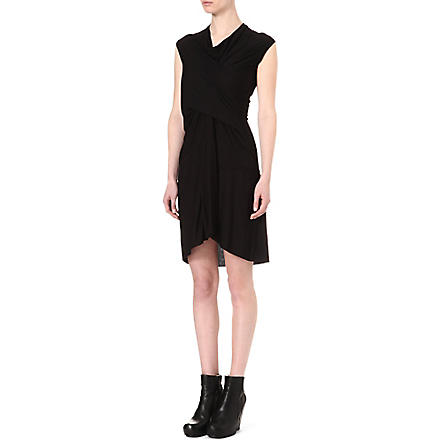 RICK OWENS Twisted-front jersey dress (Black