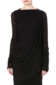 RICK OWENS Draped-side jersey tunic