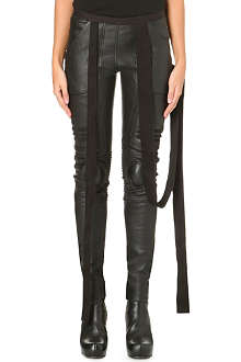 RICK OWENS Leather biker trousers