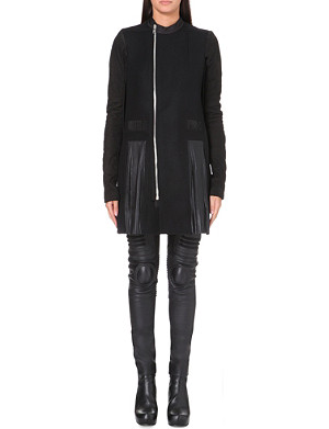 RICK OWENS Pleated detail long cardigan