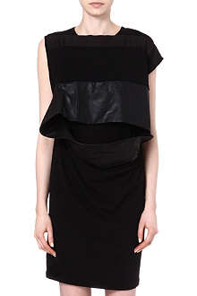 RICK OWENS Leather-detail cotton tunic