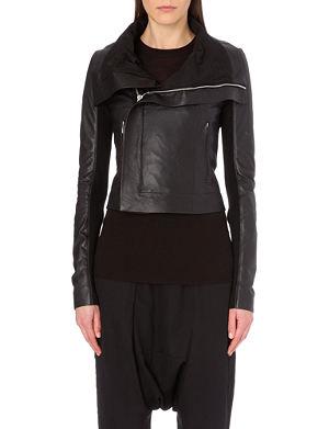 RICK OWENS Draped-lapel leather jacket